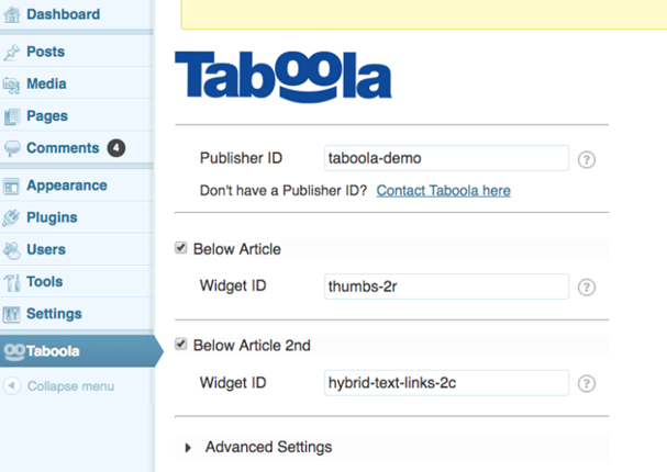 Taboola WordPress Plugin SetUp