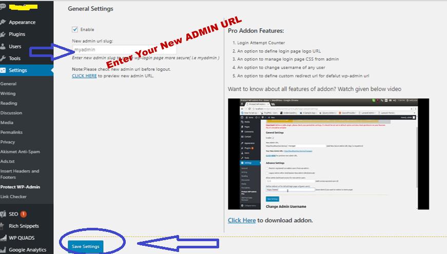 Protect Your Admin Plugin Setting